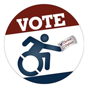 "VOTE Emblem features the universal sybol of accessibility holding a paper with ""Choice"" check marked and ""Option"" unchecked"