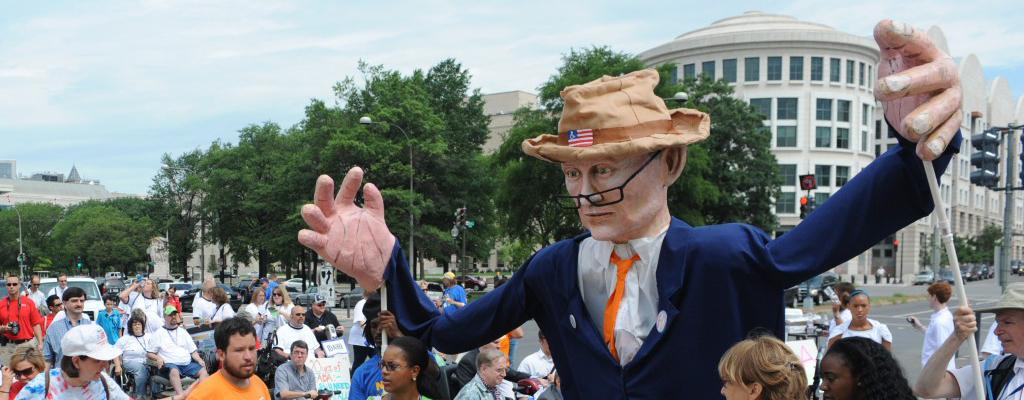 Justin Dart Puppet in the March to the Capitol